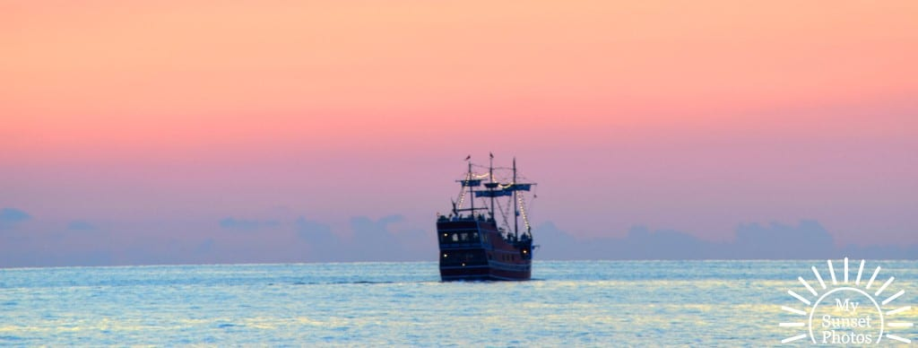 Clearwater Beach Pirate Ship at Dusk