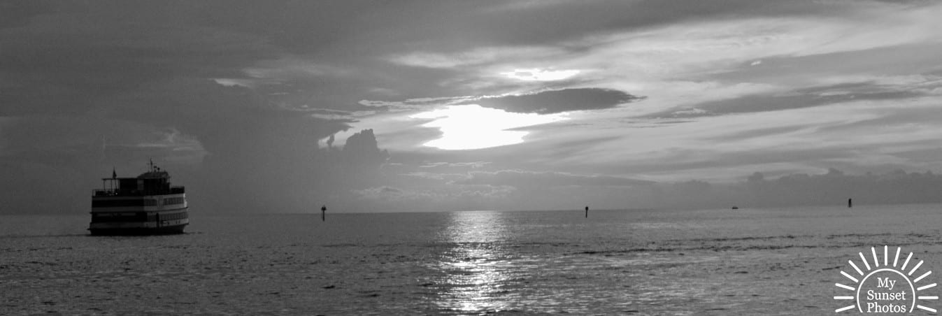 Black and White Sunset at Clearwater Beach Florida