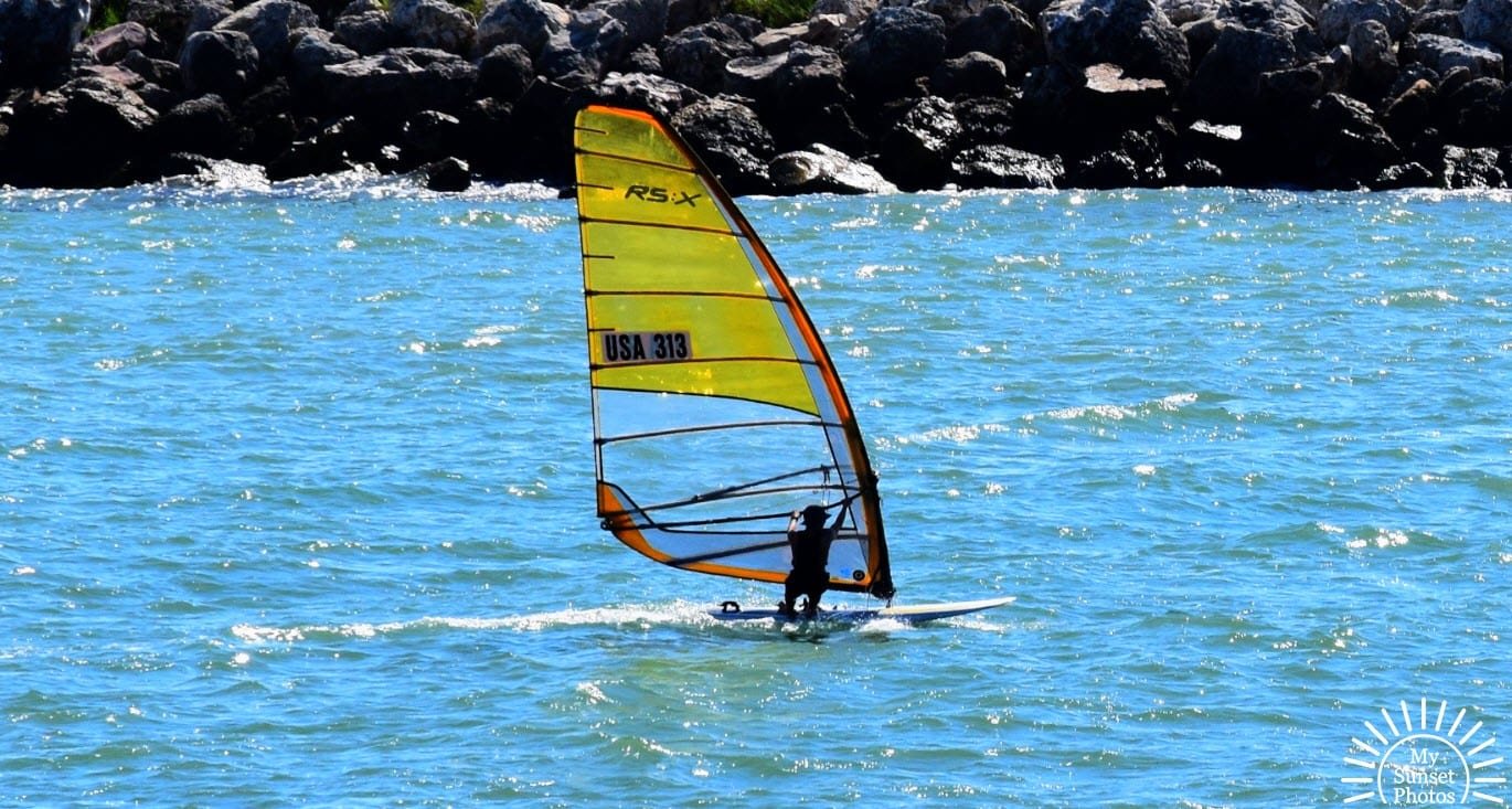 Windsurfing at Clearwater Beach in October